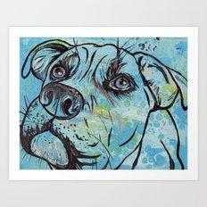 Blue Pit Bull Dog Art Print
