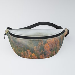 Misty forest in the Alps during autumn Fanny Pack