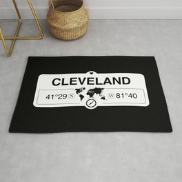 Cleveland Ohio Map GPS Coordinates Artwork with Compass Rug