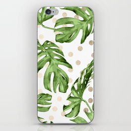 Simply Tropical White Gold Sands Dots and Palm Leaves iPhone Skin