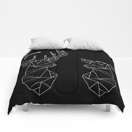 Geometric Stag and Doe (White on Black) Comforters