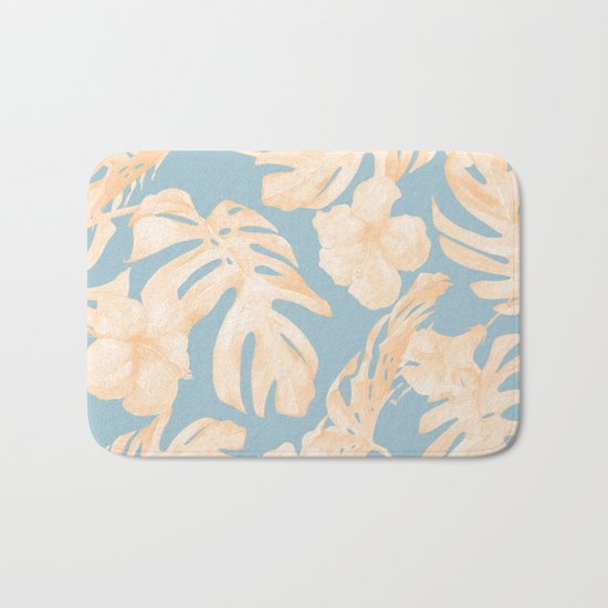 Island Vacation Hibiscus Palm Coral Sky Blue Bath Mat
