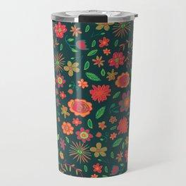 Spring Florals Green Travel Mug