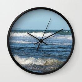 Waves and distant headlands in Queensland, Australia Wall Clock