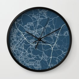 Rotherham Blueprint Street Map, Rotherham Colour Map Prints Wall Clock