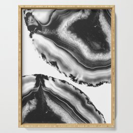 Gray Black White Agate #2 #gem #decor #art #society6 Serving Tray
