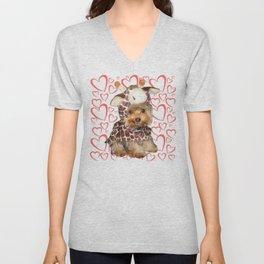 Dog | Dogs |Giraffe Costume | Yorkie with Hearts | Nadia Bonello Unisex V-Neck