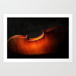 Silhouette of cello, musical painting Art Print