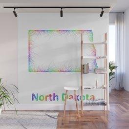 Rainbow North Dakota map Wall Mural