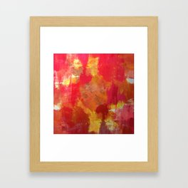 Fight Fire With Fire - Textured Metallic Abstract in red, white, black, orange and yellow Framed Art Print
