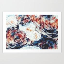Roses print in retro drawing style watercolor digital Art Print