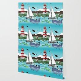 Coastal Sailing - Nautical Landscape Scene Wallpaper