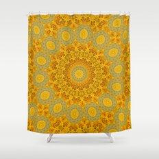 You Are My Sunshine II -- Sunflower Botanical Medallion, Mandala, Kaleidoscope Shower Curtain