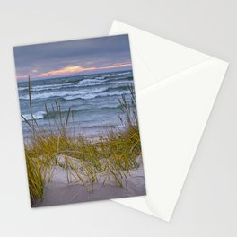Lake Michigan Dune with Beach Grass at Sunset Stationery Cards