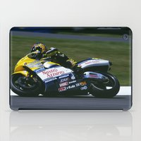 honda iPad Cases featuring VALENTINO ROSSI RIDING A HONDA by Don Hooper