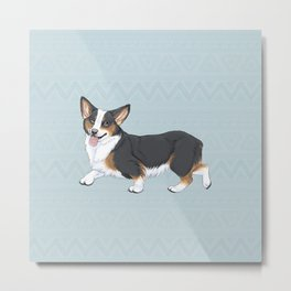 Tri-color Corgi Metal Print