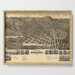 Vintage Pictorial Map of Helena MT (1890) Serving Tray