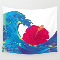 hokusai Wall Tapestries featuring Hokusai Rainbow & Hibiscus_R  by FACTORIE