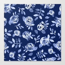 Hand painted navy blue white watercolor floral roses pattern Canvas Print
