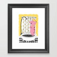 Piggy Shower Framed Art Print