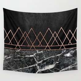 Elegant Rose Gold Triangles Black White Marble Wall Tapestry