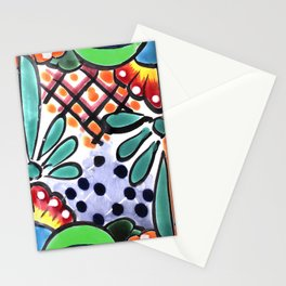 Colorful Talavera, Green Accent, Mexican Tile Design Stationery Cards