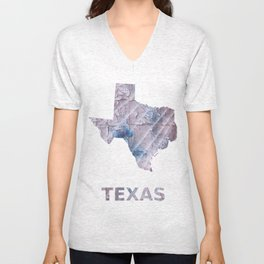 Texas map outline Dark gray stained watercolor pattern Unisex V-Neck
