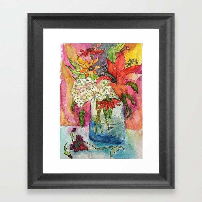 Fall Flower Bouquet Gerahmter Kunstdruck