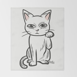 White funny cat Throw Blanket