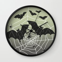 Bats with Spider Web in Background Wall Clock