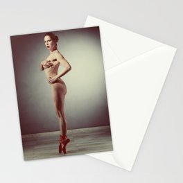 Beautiful nude woman posing ballet look Stationery Cards