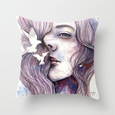 Dreams of freedom, watercolor artwork Throw Pillow