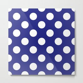 Geometric Candy Dot Circles - White on Navy Blue Metal Print