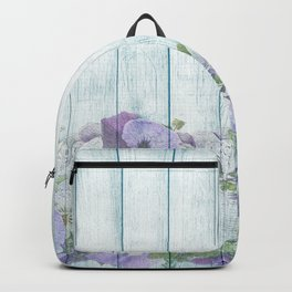 Romantic Vintage Shabby Chic Floral Wood Blue Backpack