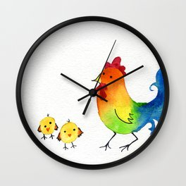 Little Rainbow Roosters Wall Clock
