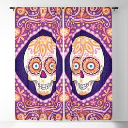 Cute Sugar Skull - Day of the Dead Skull Art by Thaneeya McArdle Blackout Curtain