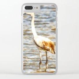 Pretty Flamingo Fledgling Watercolor Clear iPhone Case