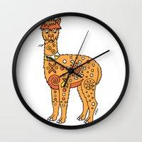 alpaca Wall Clocks featuring Alpaca by Peggy Cline