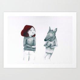 Menos lobos caperucita Art Print