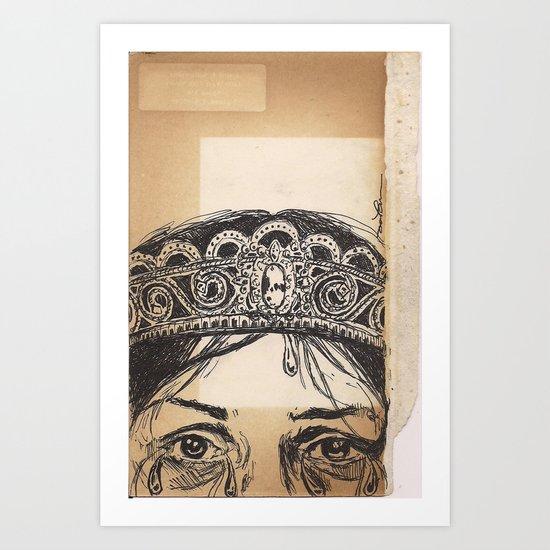 Woman tears and crown Art Print