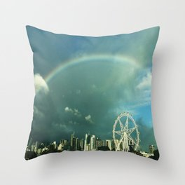 Rainbow over Melbourne Throw Pillow