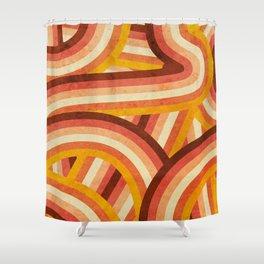 Vintage Orange 70's Style Rainbow Stripes Shower Curtain