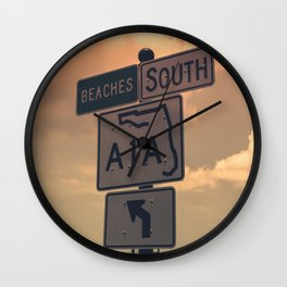 A1A South To The Beaches Wall Clock