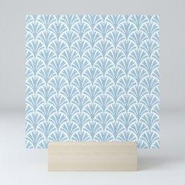 Faux Velvet Fan Pattern In Blue on White Mini Art Print