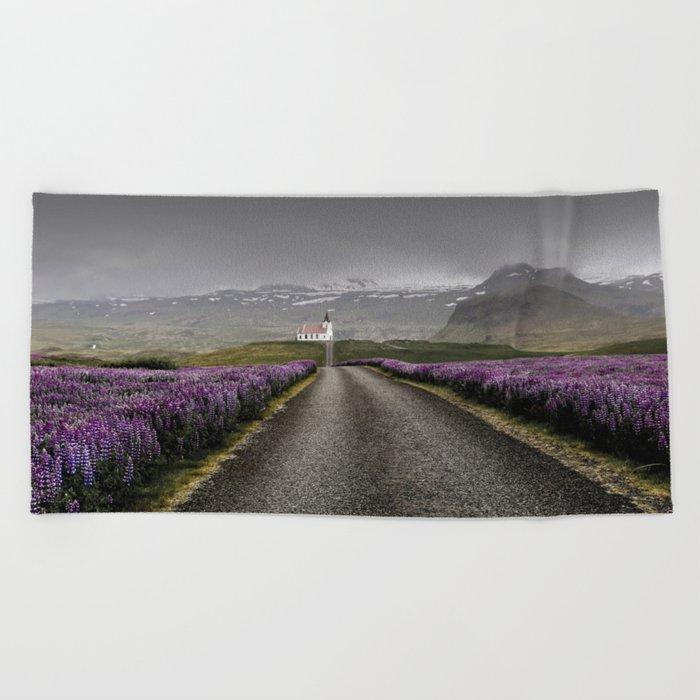 Church and nature Beach Towel