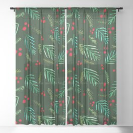 Christmas tree branches and berries - green Sheer Curtain