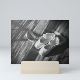 Ballet dance shoes. Black and White version. Mini Art Print