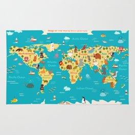 Animals world map. Vector illustration Rug