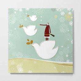 Santa and dove of peace Metal Print