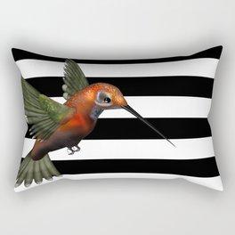 Colorful Hummingbird & Horizontal Stripes Rectangular Pillow